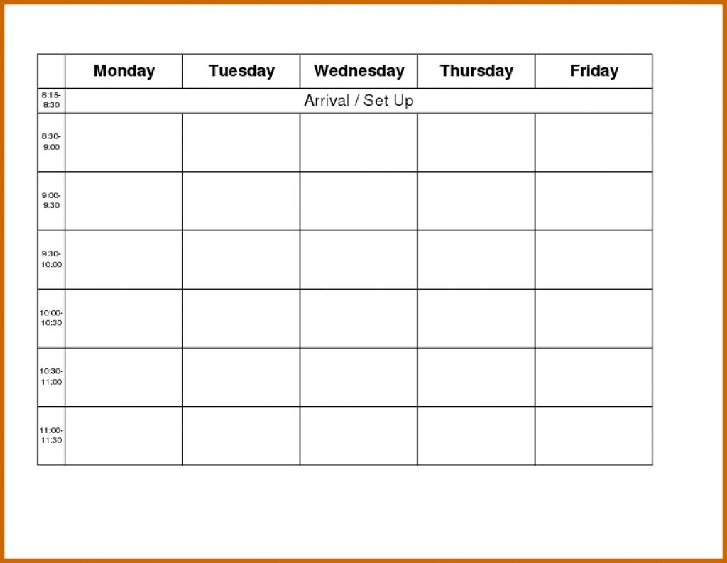 Monday Through Friday Calendar Template Word Kleobeachfixco