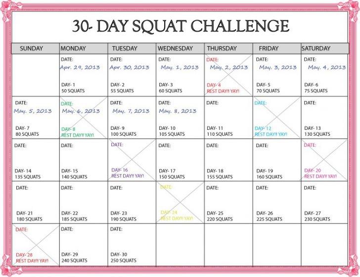 New 30 Day Squat Challenge Calendar Printable Calendar 2019