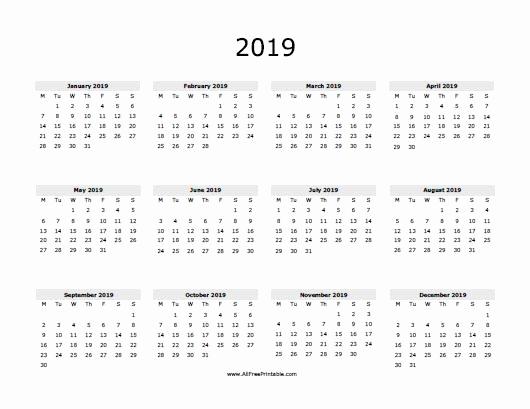 New 30 Design One Year Calendar 2019 Printable Calendar Design