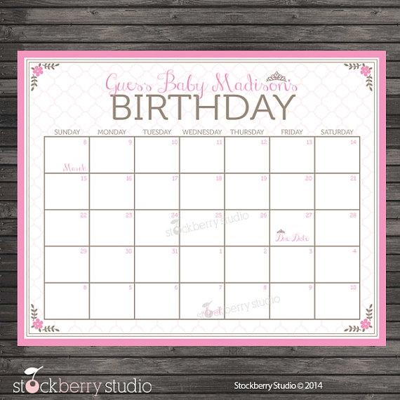 Princess Ba Shower Guess The Due Date Calendar Pink Ba Shower