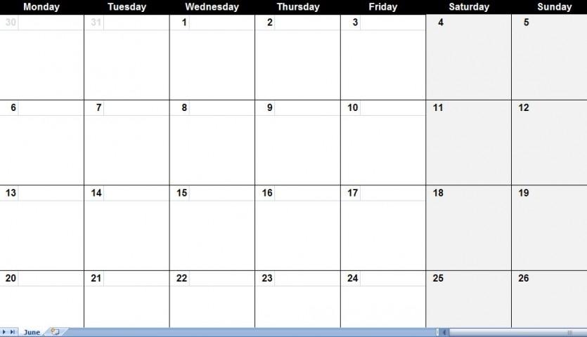 Print Large June Calendar Blank Calendar Template