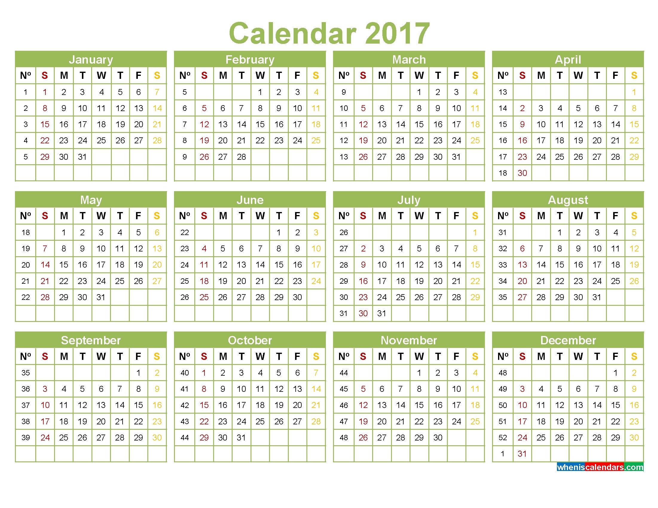 Printable 2017 Calendar With Week Numbers Pdf Image Word Within