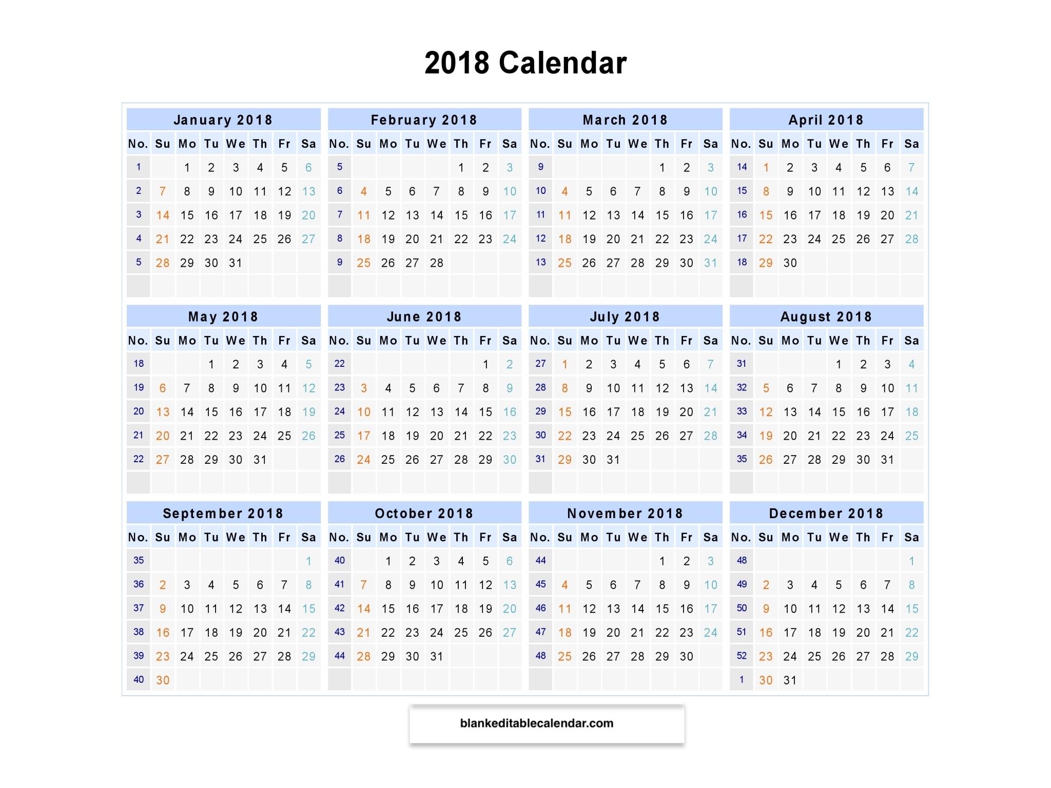 Printable 2018 Calendar With Week Numbers 2018 Weekly Calendar