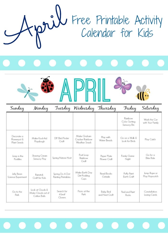 Printable Activity Calendar For Kids Free Printable From The