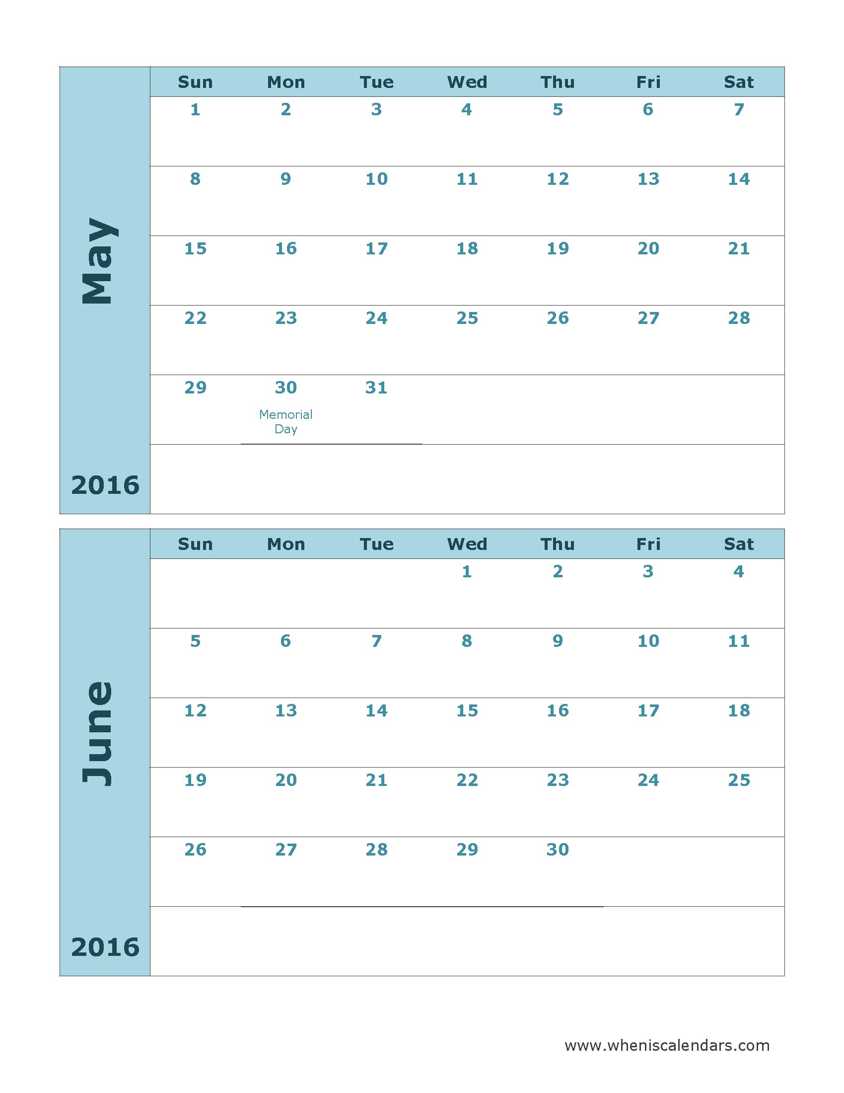 Printable Calendar May And June 2016 Ideas For The House