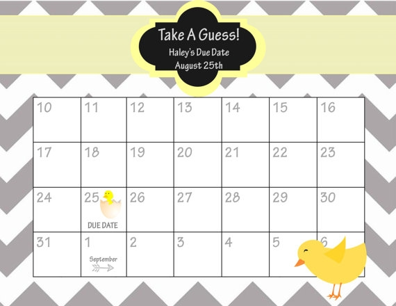 Printable Due Date Calendar Ba Shower Game Guess The Date Ba