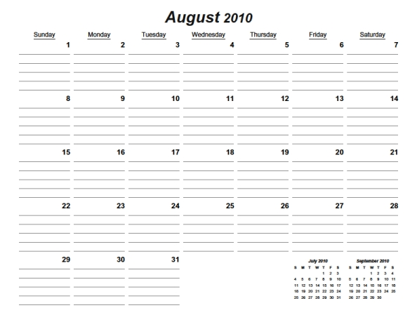 Printable Monthly Calendars With Lines 28 Images Weekly Calendar