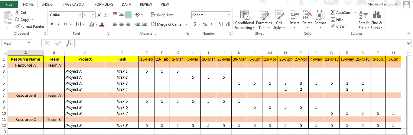 Resource Calendar Template Excel Meloin Tandemco