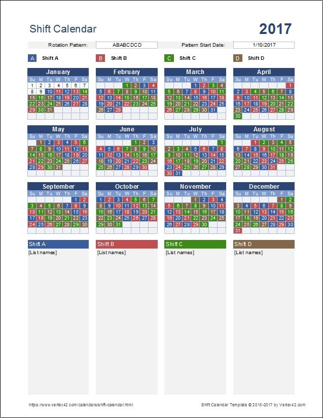 Shift Calendar 2018 Selol Inkco