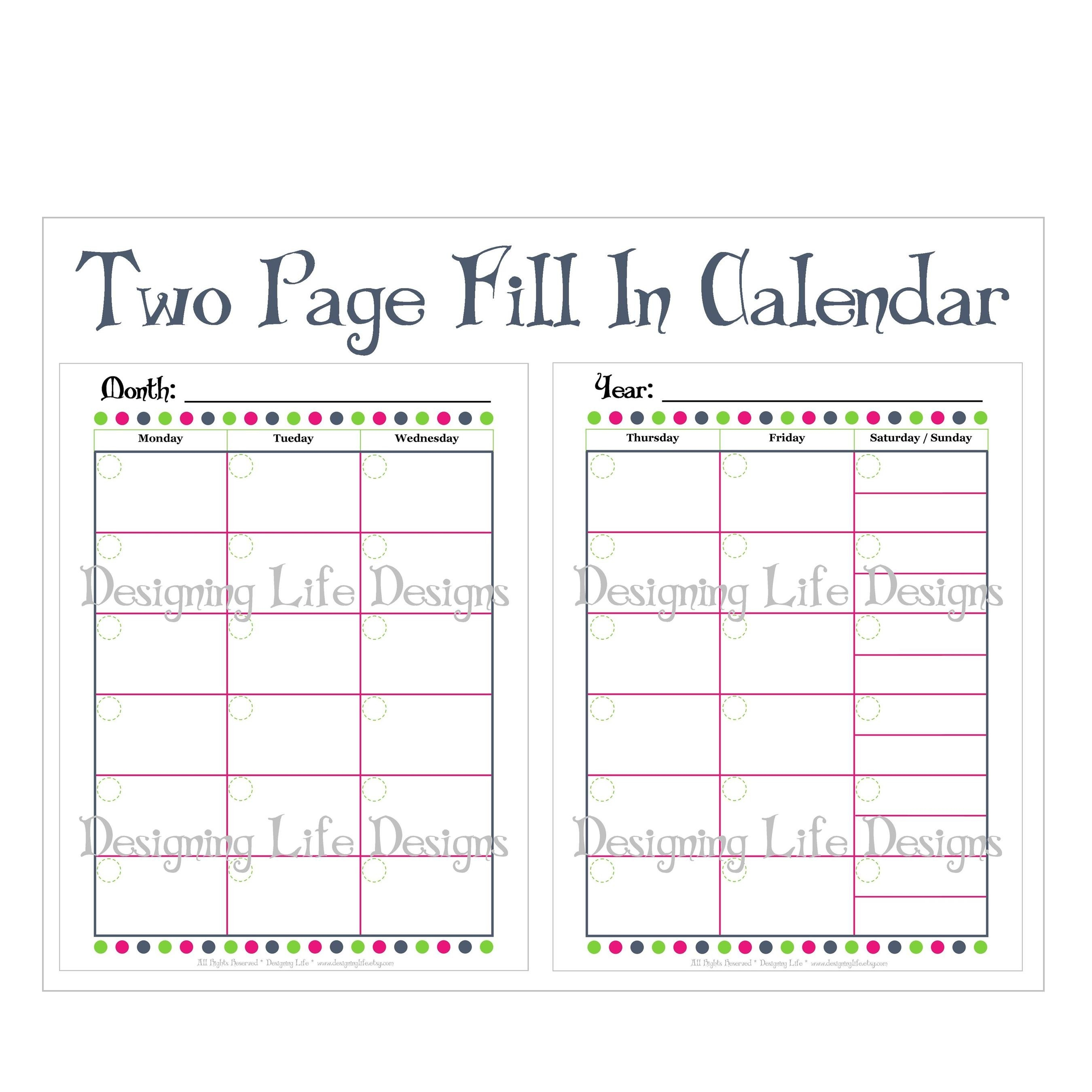 Two Page Monthly Calendar Template Template Design Ideas