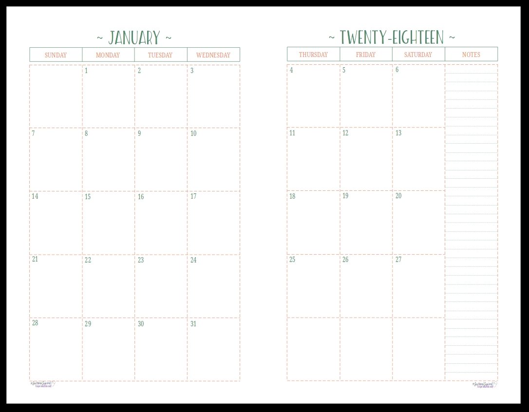 Two Page Month Calendar