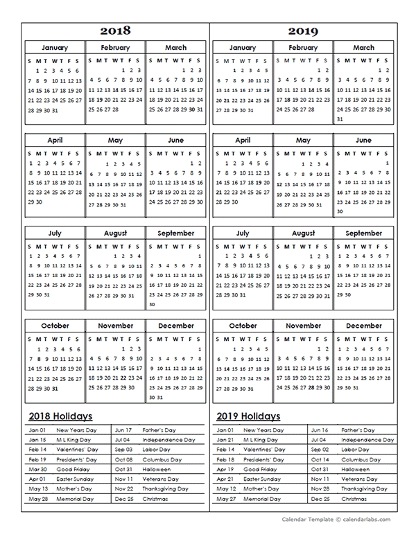Two Year Calendar Template 2018 And 2019 Free Printable Templates