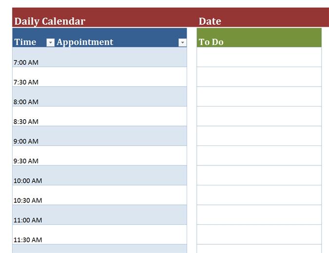 Blank Daily Calendar Office Templates Within Day Calendar Template