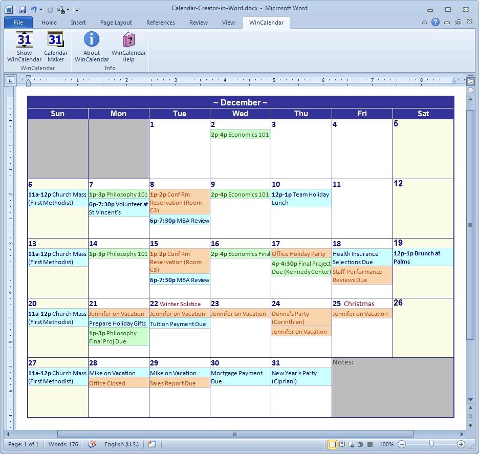 Calendar Maker Calendar Creator For Word And Excel