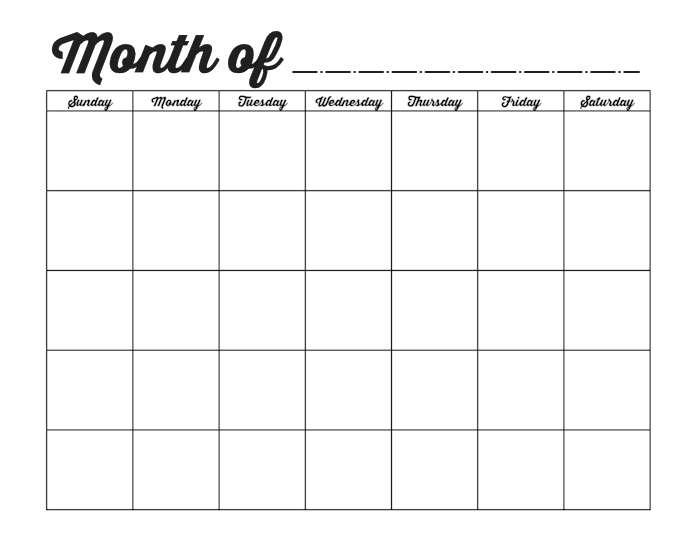 Blank Month Calendar Print Out