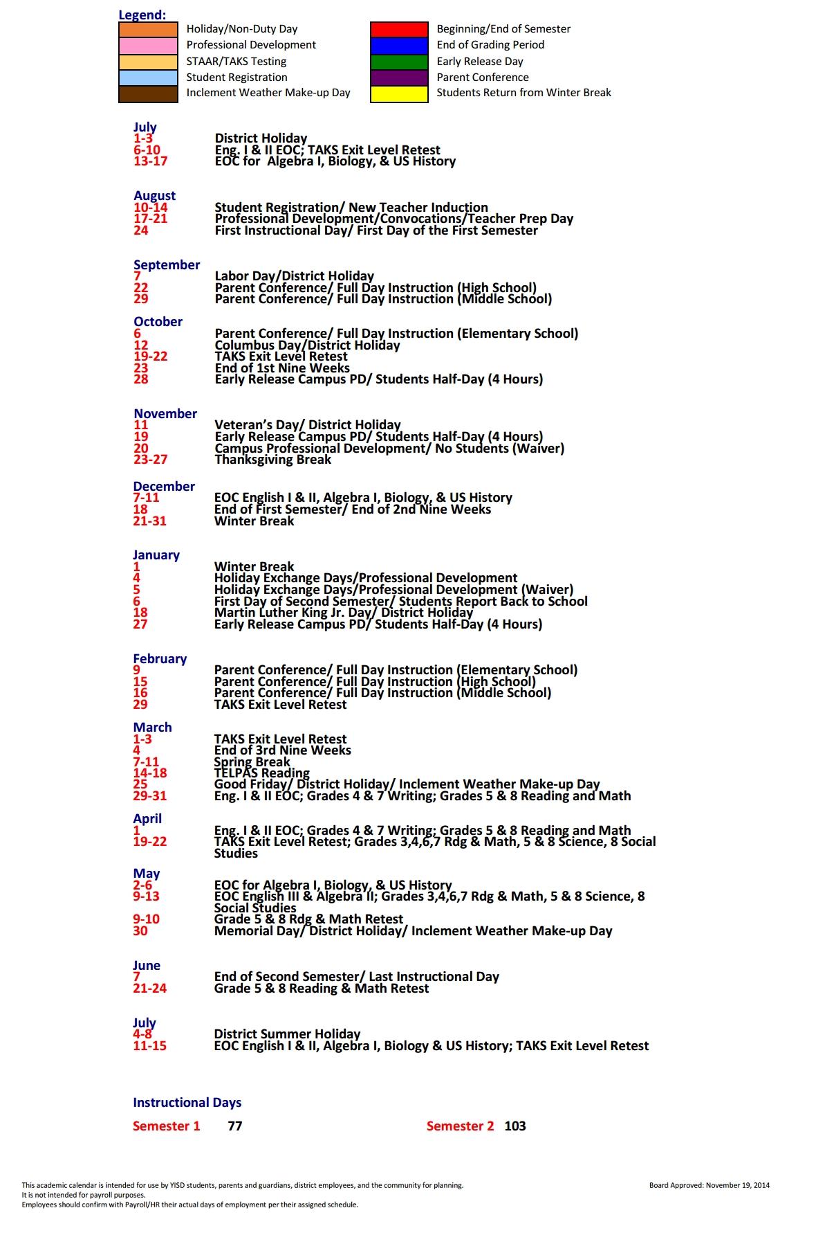 J M Hanks High School School District Instructional Calendar