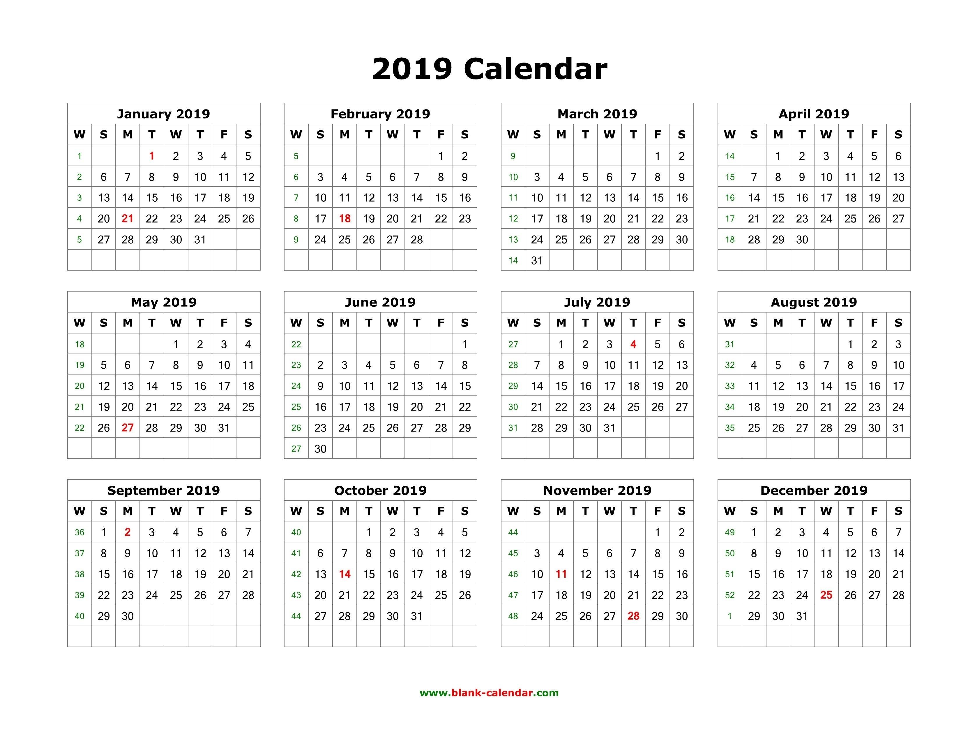 1 Page 9 Month Calendar | Holidays Calendar Template Calendar 2019 1 Page