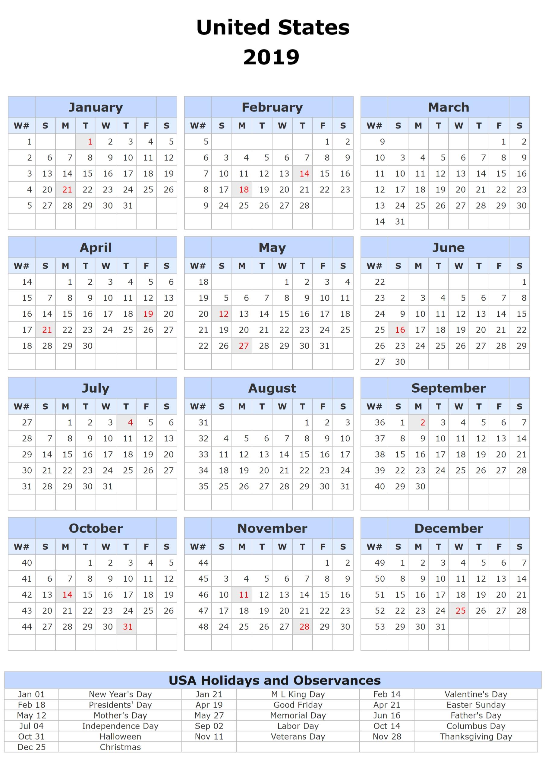 1 Year Calendar 2019 Template | Free Printable 2018 Calendar Calendar Year 2019 United States