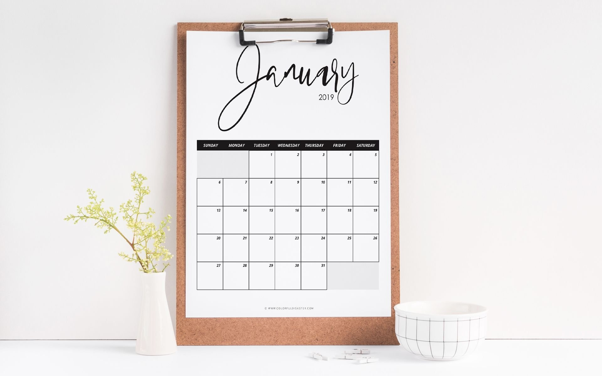 10 Stylish Free, Printable Calendars For 2019 8X10 Calendar 2019