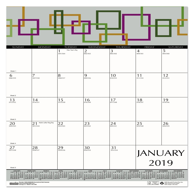 100 Recycled Geometric Wall Calendar 12 X 12 2019 | Ebay Calendar 2019 Ebay