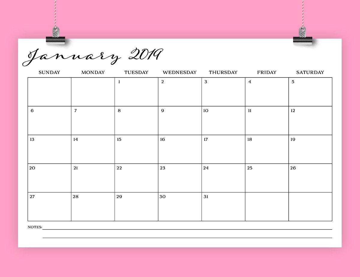 11 X 17 Inch 2019 Calendar Template Instant Download   Etsy Calendar 2019 11X17