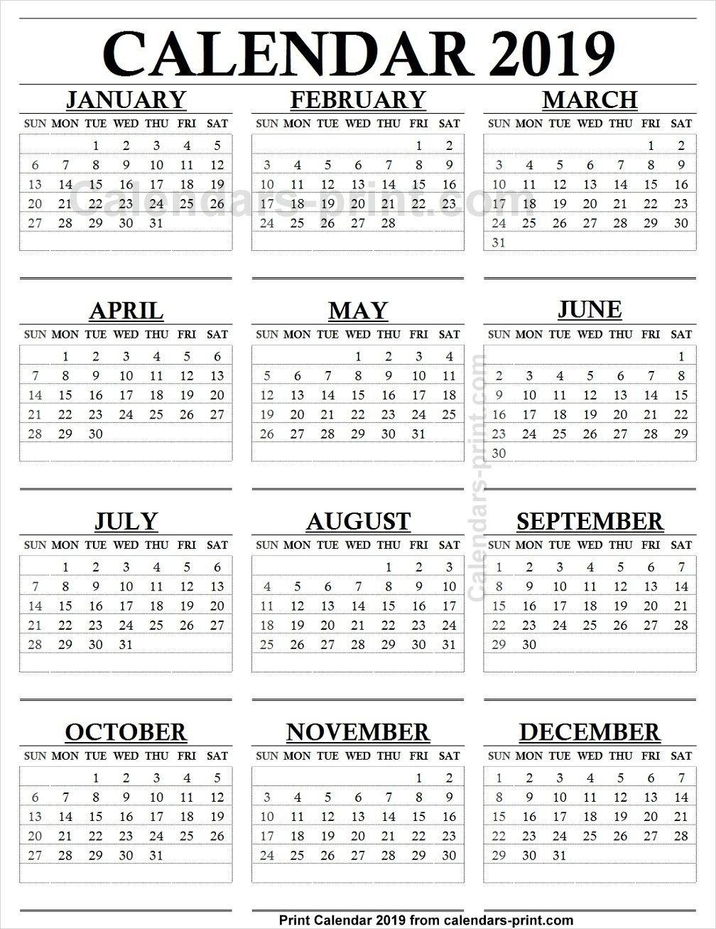 12 Month Calendar 2019 One Page | 2019 Yearly Calendar | Calendar Calendar 2019 12 Months
