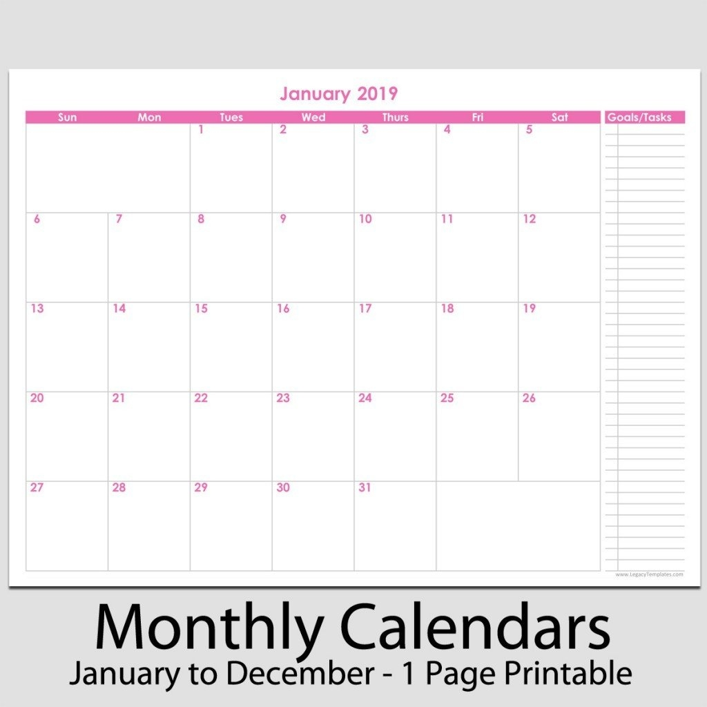 12 Month Calendar 2019 Printable 2019 12 Month Calendar With Tasks 8 2019 Calendar 8 1/2 X 11
