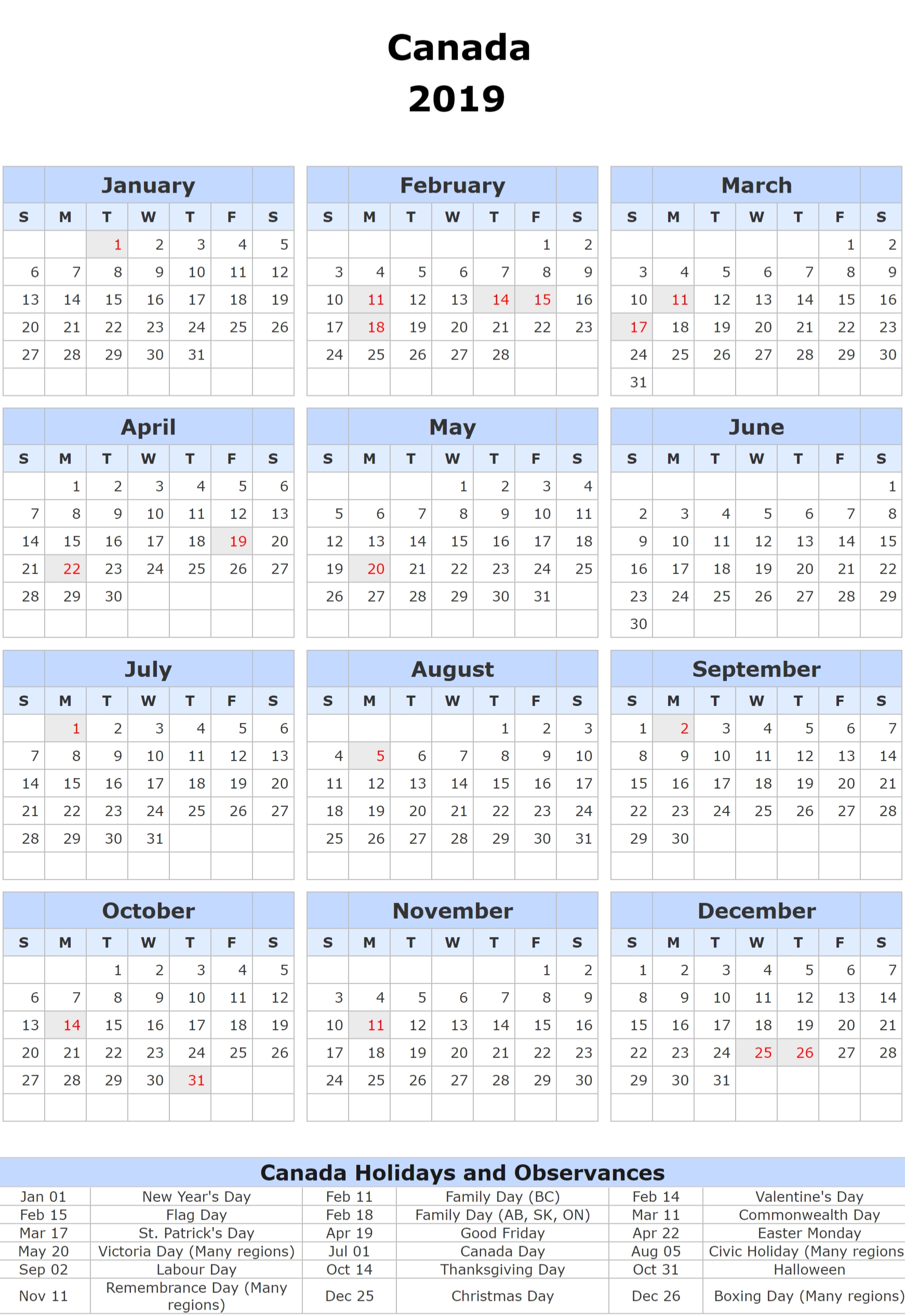 12 Month Yearly Calendar 2019 | Free Printable 2018 Calendar Calendar Year 2019 Canada