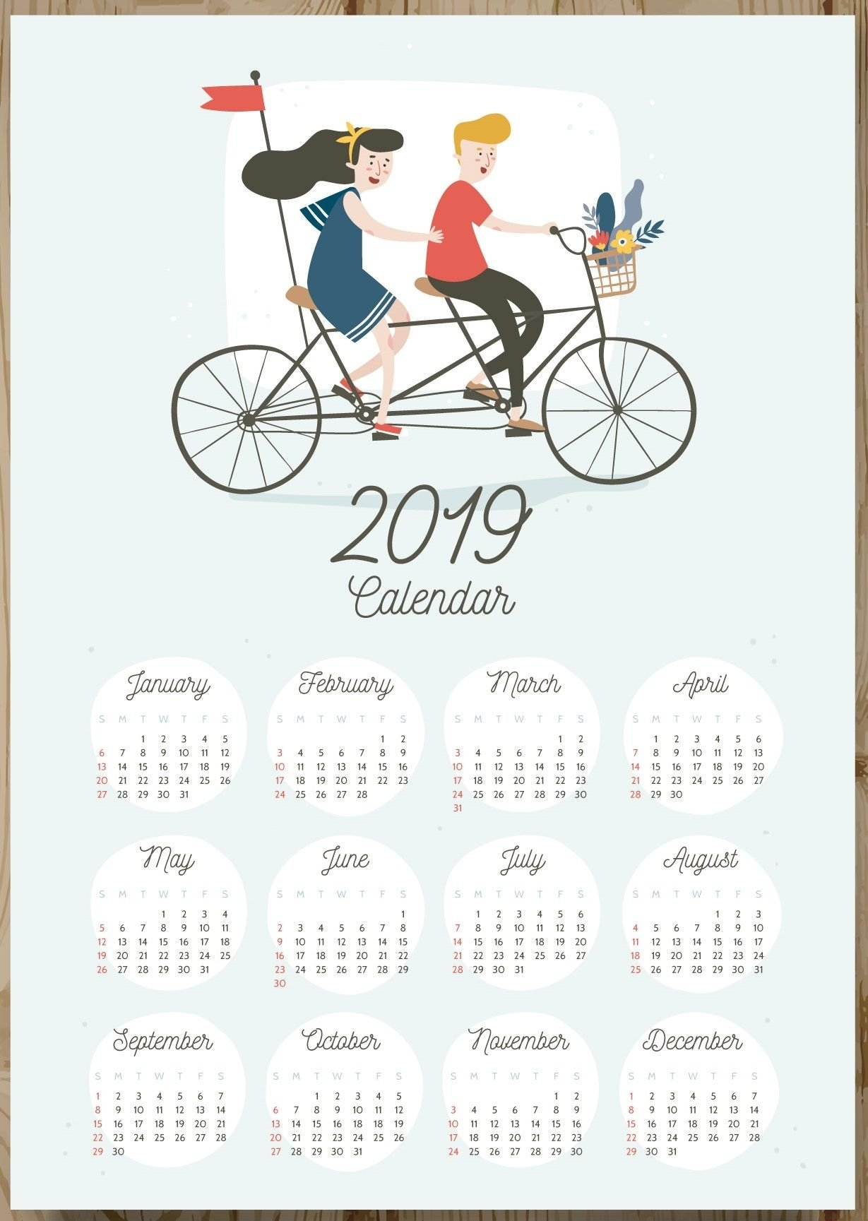 12 Months 2019 One Page Calendar | --Keepsake-- | Pinterest Calendar 2019 All Months