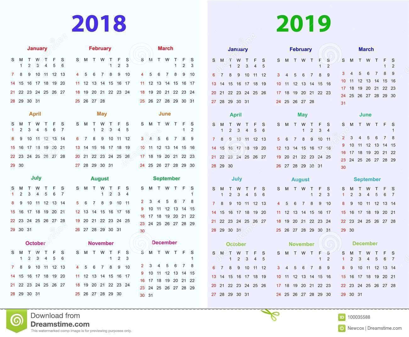 12 Months Calendar Design 2018-2019 Stock Vector - Illustration Of Calendar 2019 12