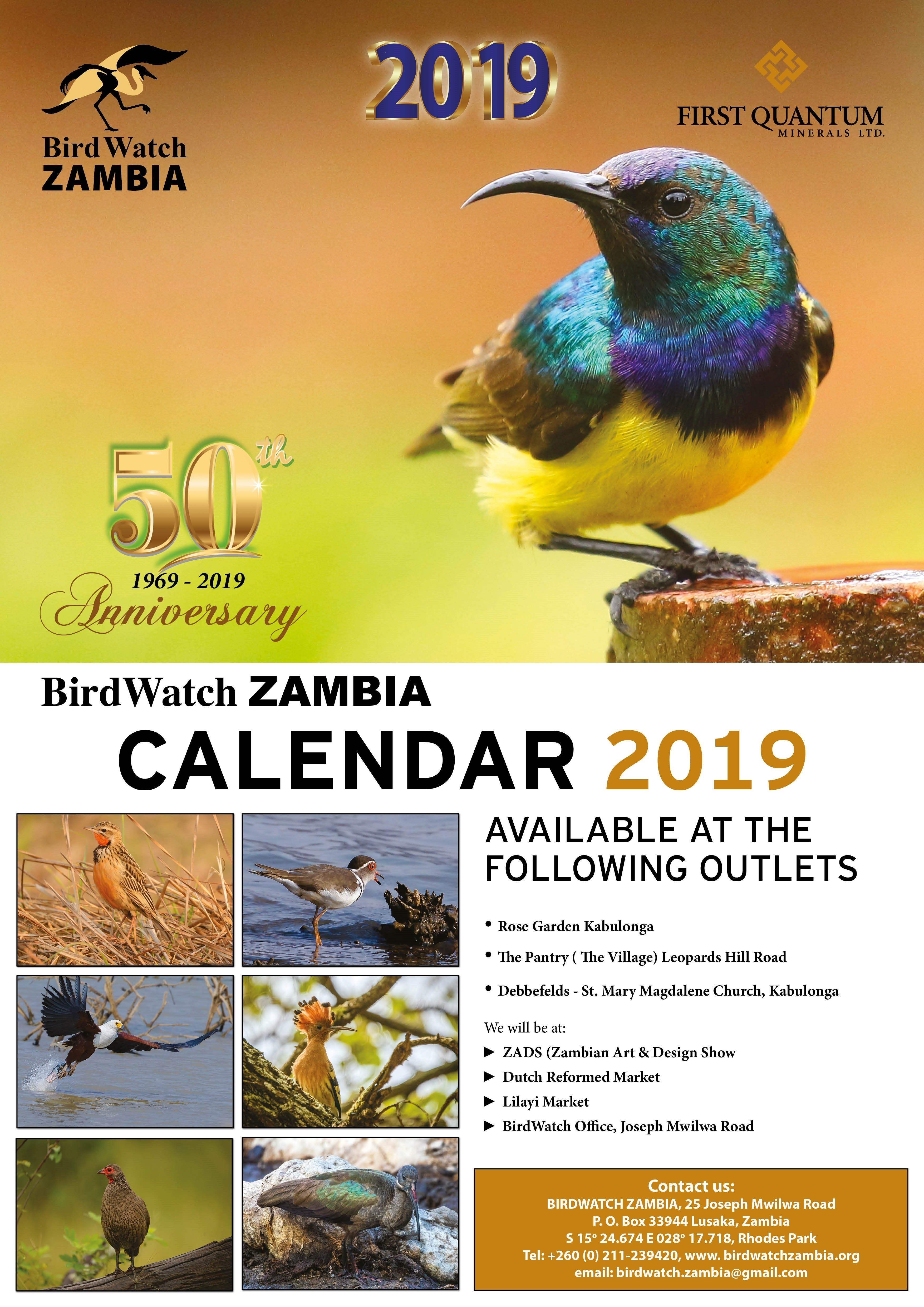 13.11.2018 - Birdwatch 2019 Calendar Now Available » Ad-Dicts Ads Calendar 2019 Zambia