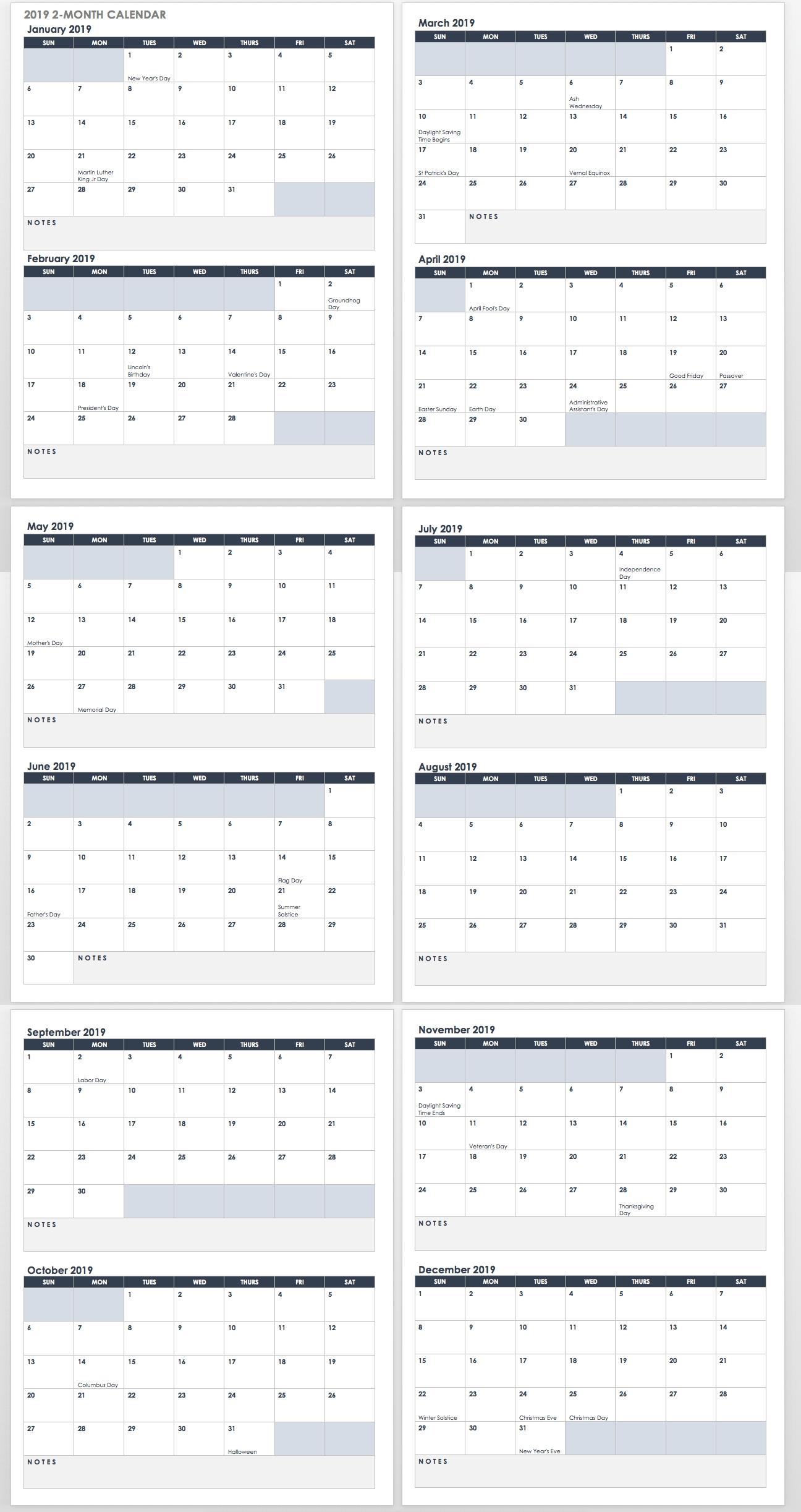 15 Free Monthly Calendar Templates | Smartsheet 2 Month Calendar 2019