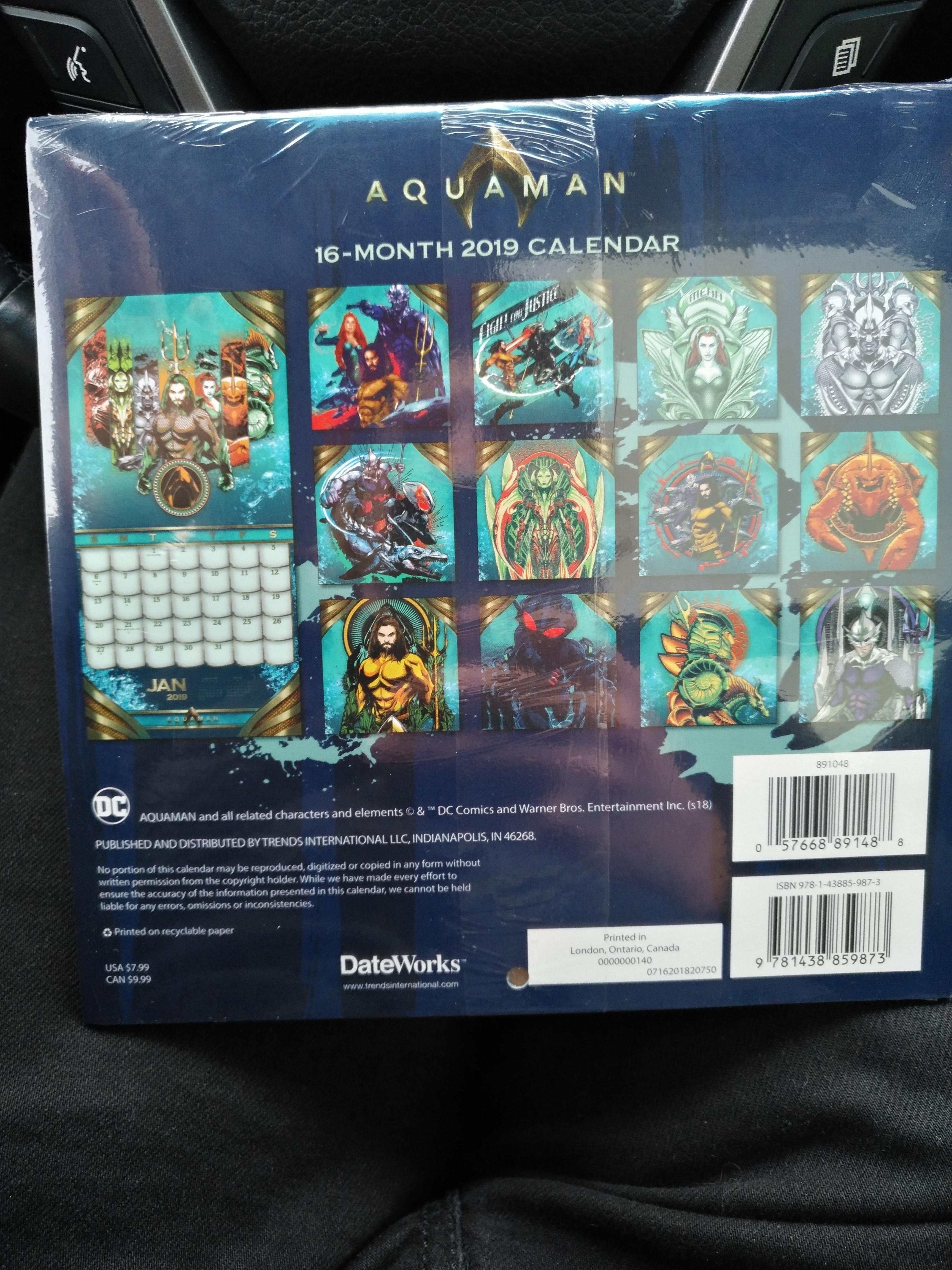 16 Month Mini Calendar At Wal-Mart (Canada) : Aquaman Calendar 2019 Walmart