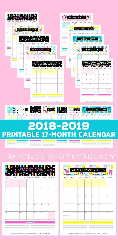 17-Month Calendar: 2018-2019 - Modern Memphis - This 17-Month 2019 Calendar 80S