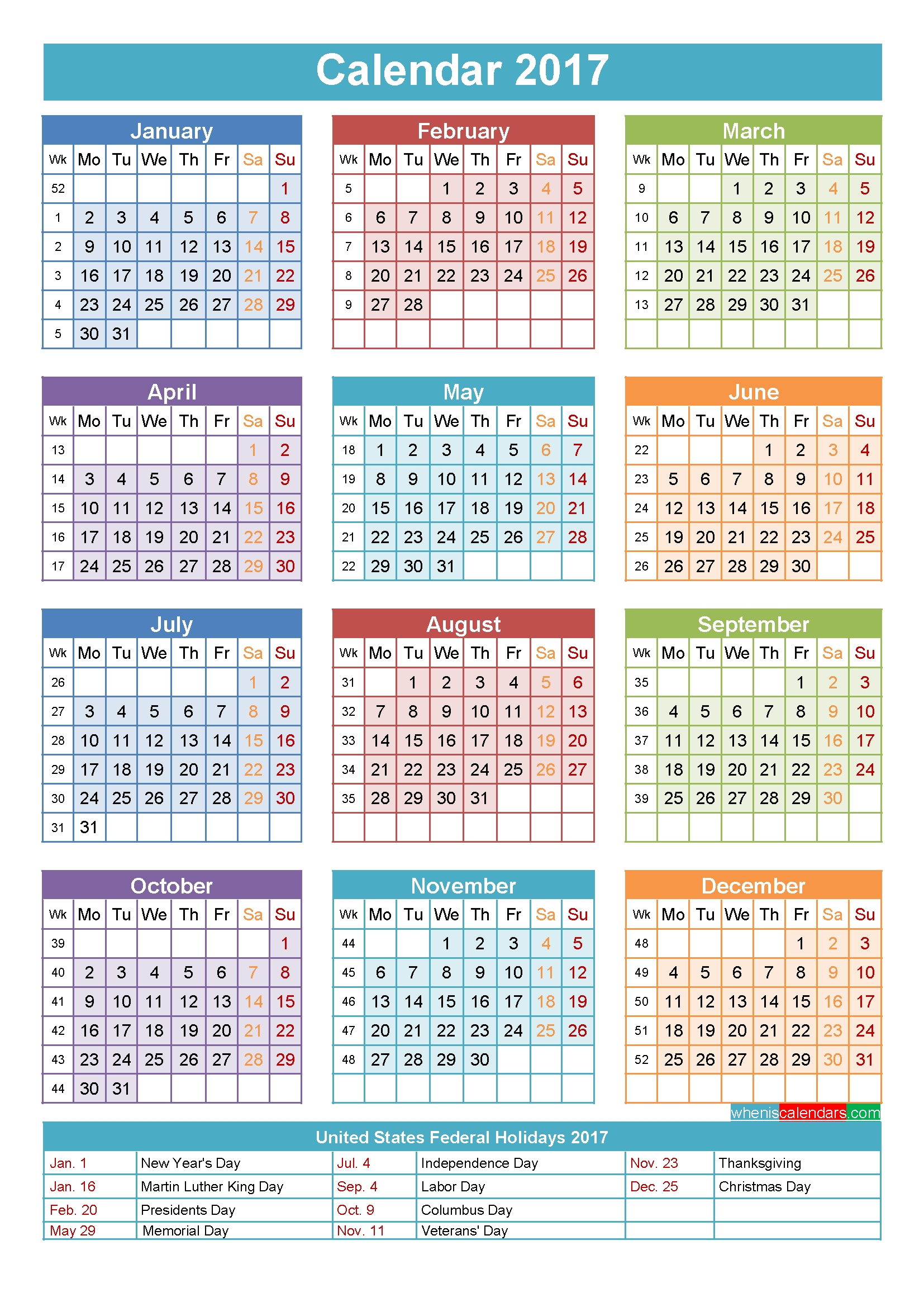 2017 Calendar With Holidays Printable Yearly Calendar Template Calendar Week 41 2019