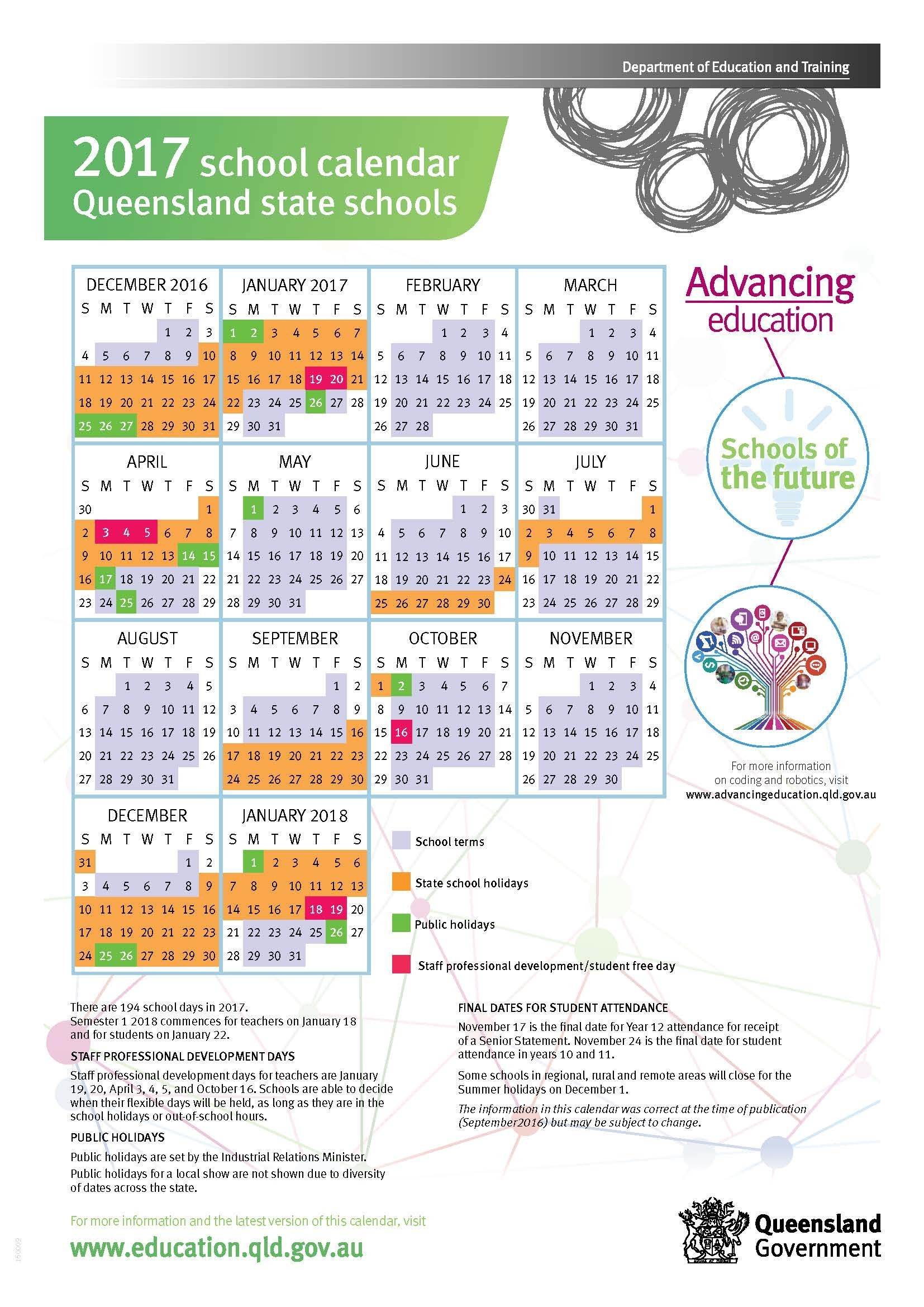 2017 Queensland State School Calendar Calendar 2019 Qld School