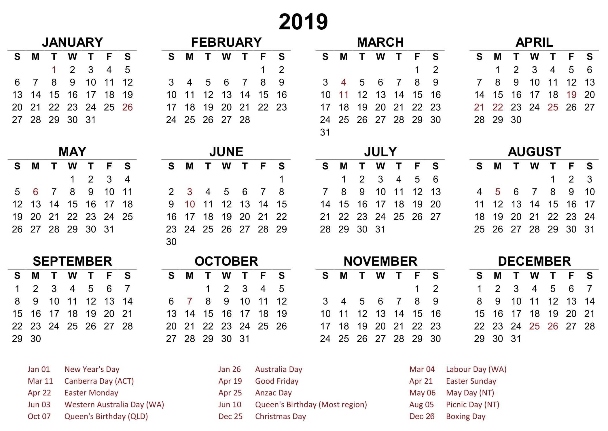 2018 19 Australia School Holidays. February 2019 Calendar. 2019 Calendar Year 2019 Australia