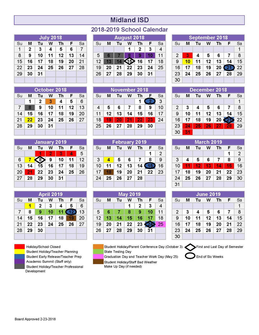 2018-19 School Calendar Calendar 2019-19