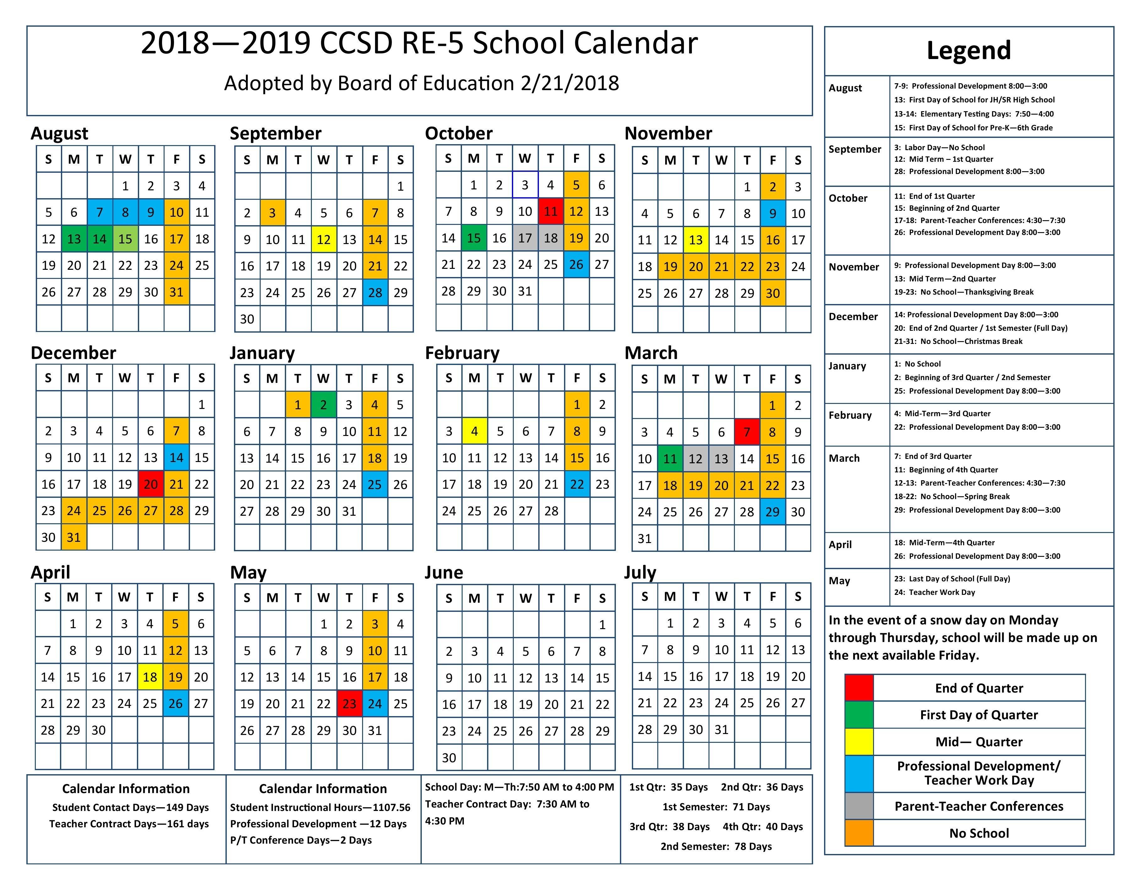 2018-19 School Calendar Calendar 2019 1St Quarter