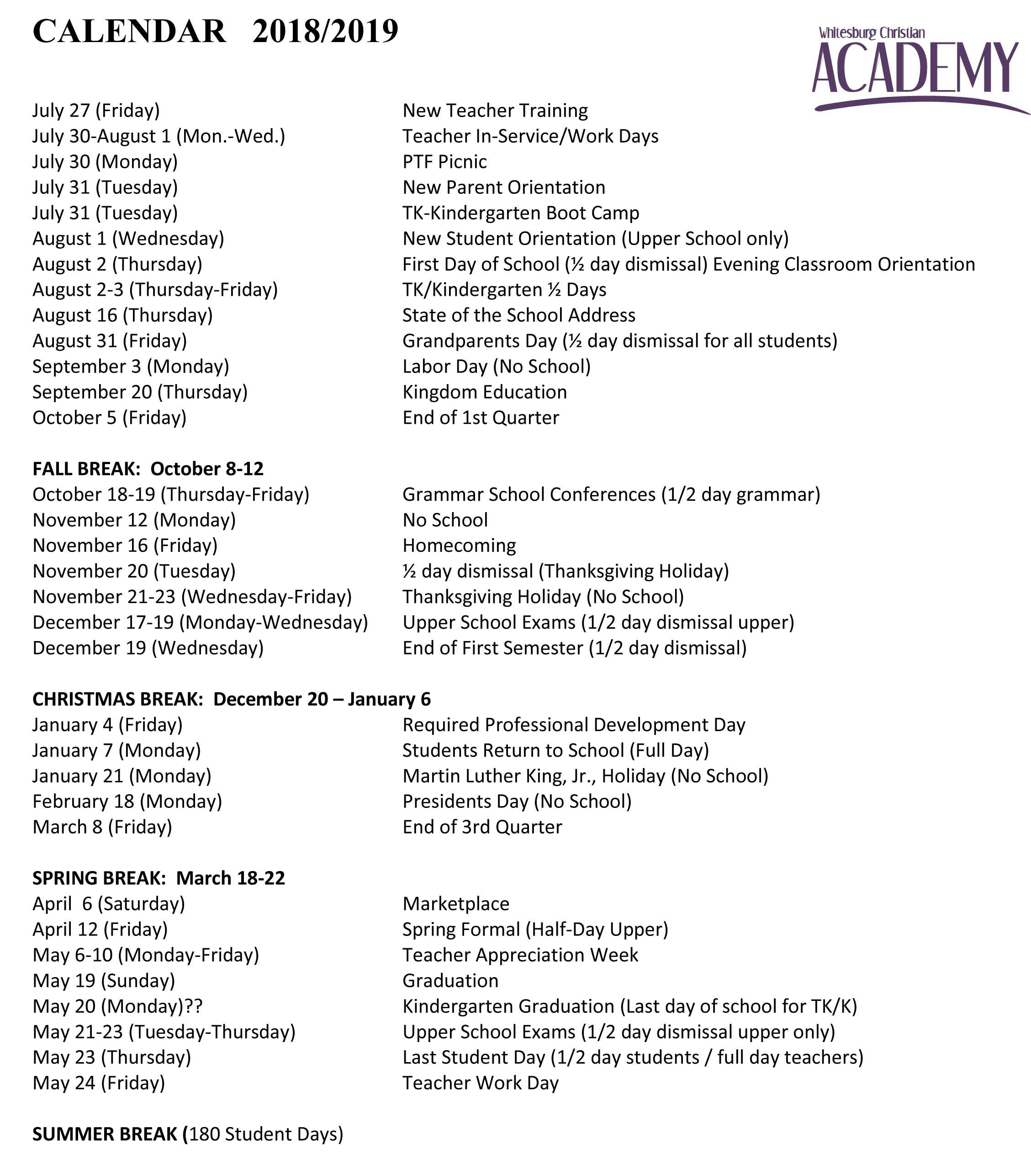 2018-19 School Calendar K State Calendar Spring 2019