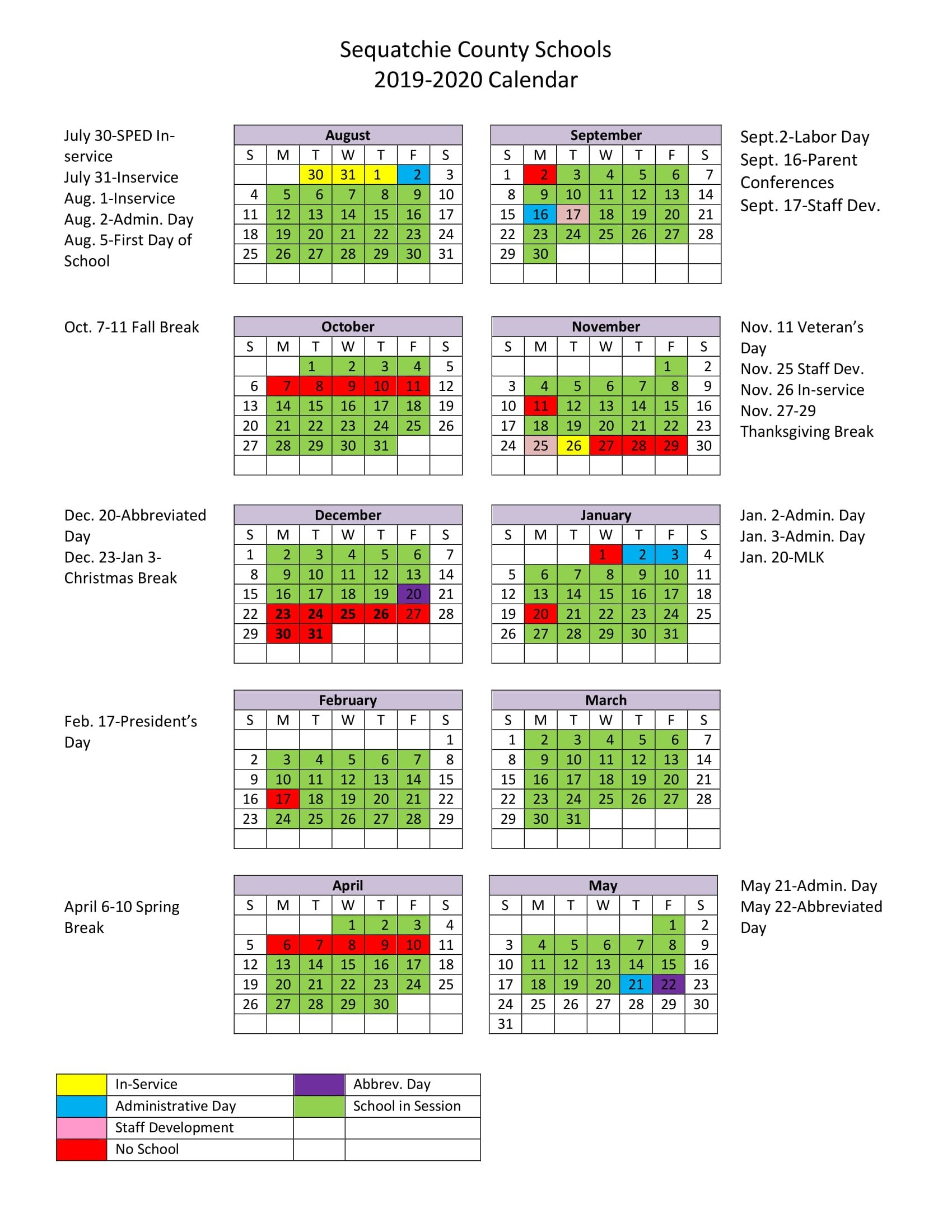 2018-19 School Calendar School Calendar 2019-20