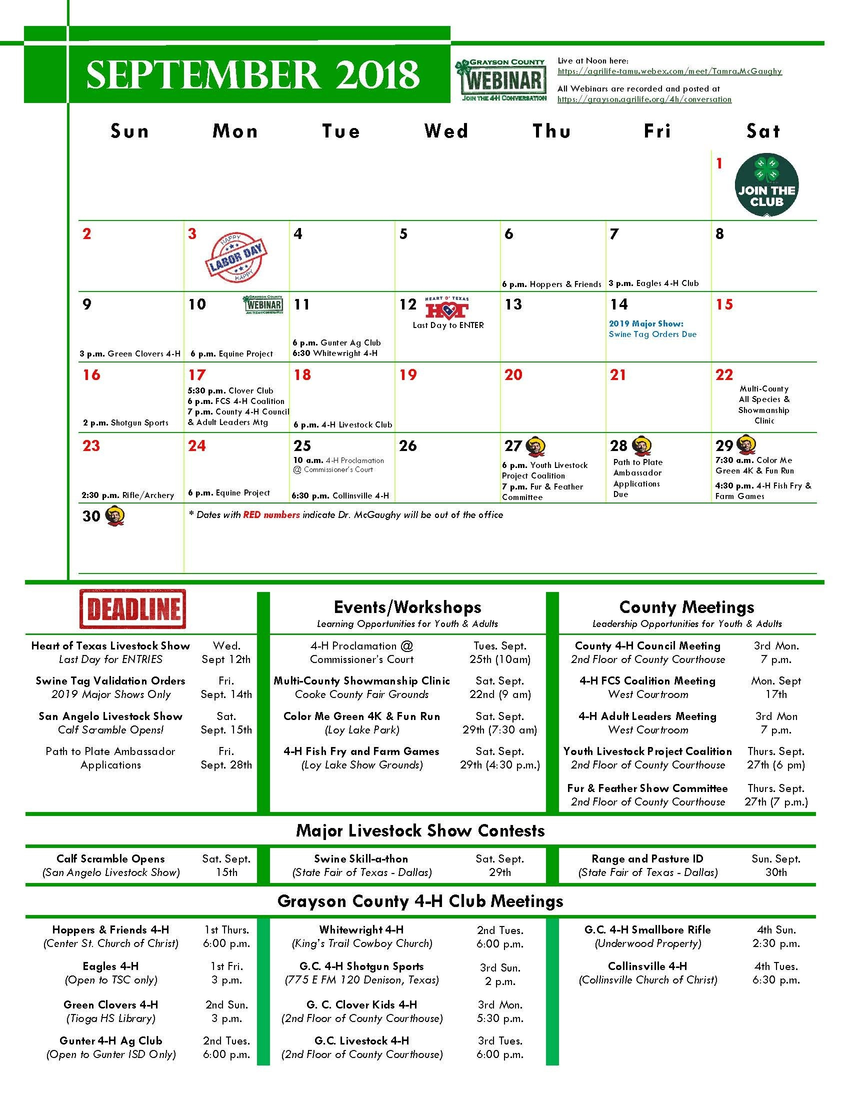 2018-2019 4-H Calendar | Grayson Texas A&m Calendar 2019