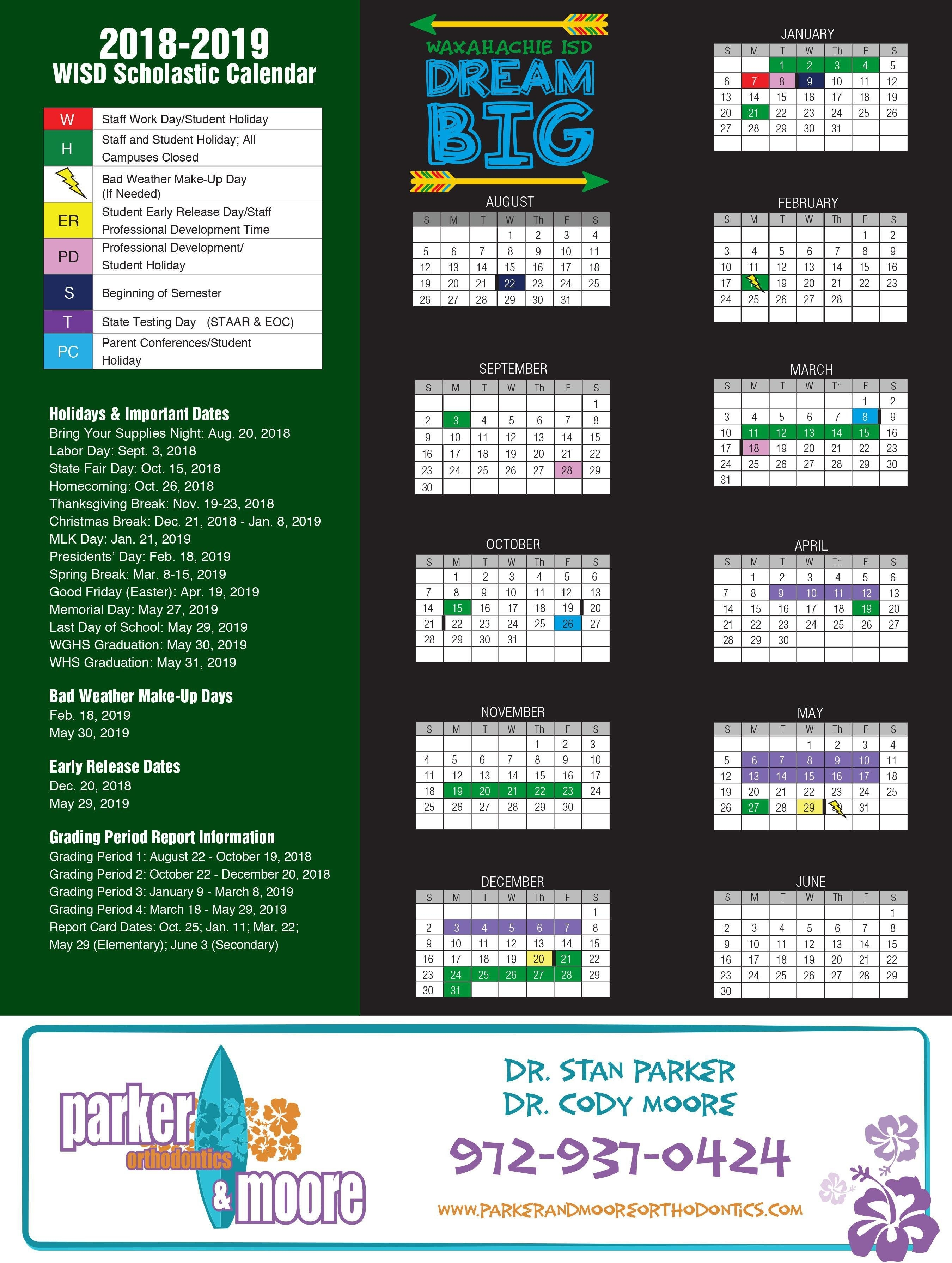 2018-2019 Academic Calendar – About Us – Waxahachie Independent K State Calendar Spring 2019