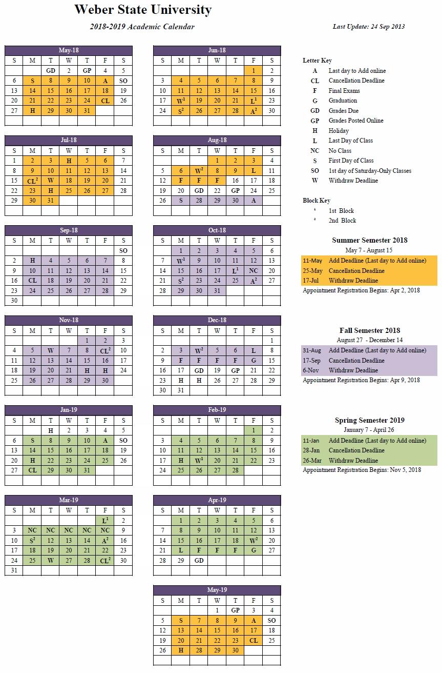 2018-2019 (Approved) U Of W Calendar 2019