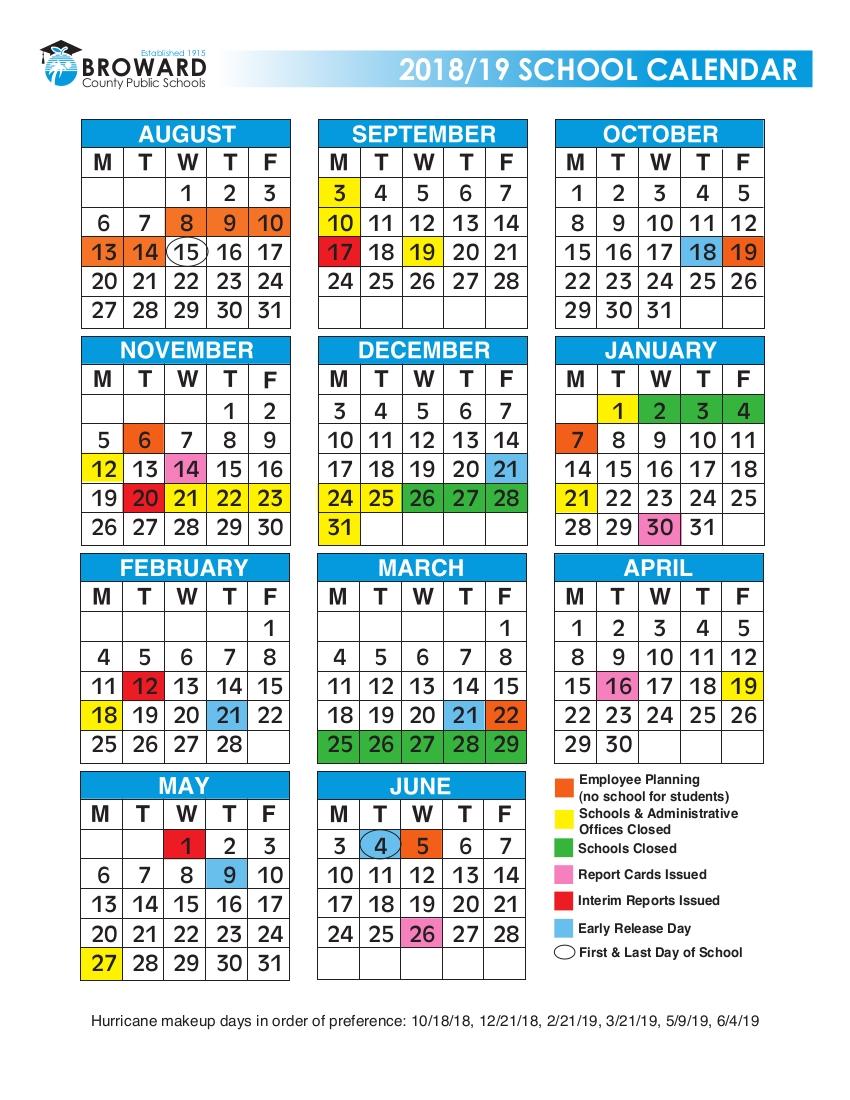 2018/2019 Broward Schools Calendar - Urban Select Realty Ligue 1 Calendar 2019