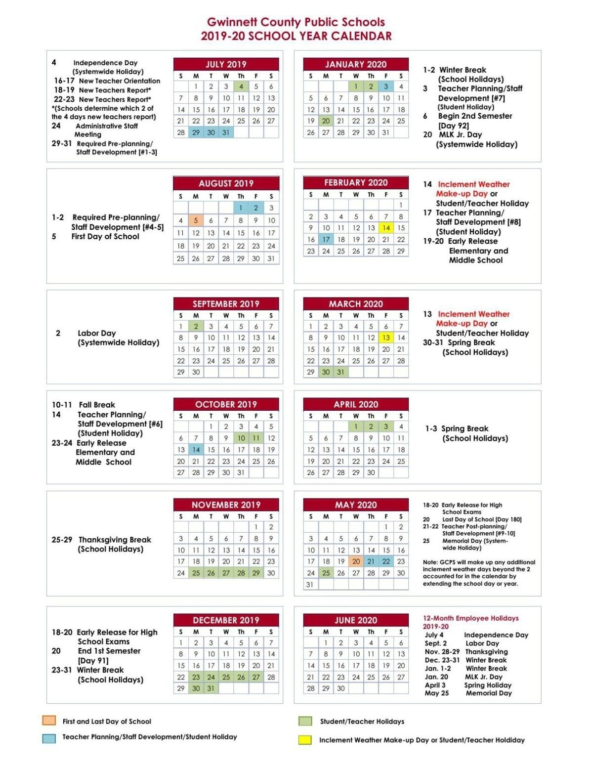 2018 2019 Calendar Approved 1 13 18 All Fulton County School School Calendar 2019-20 Broward