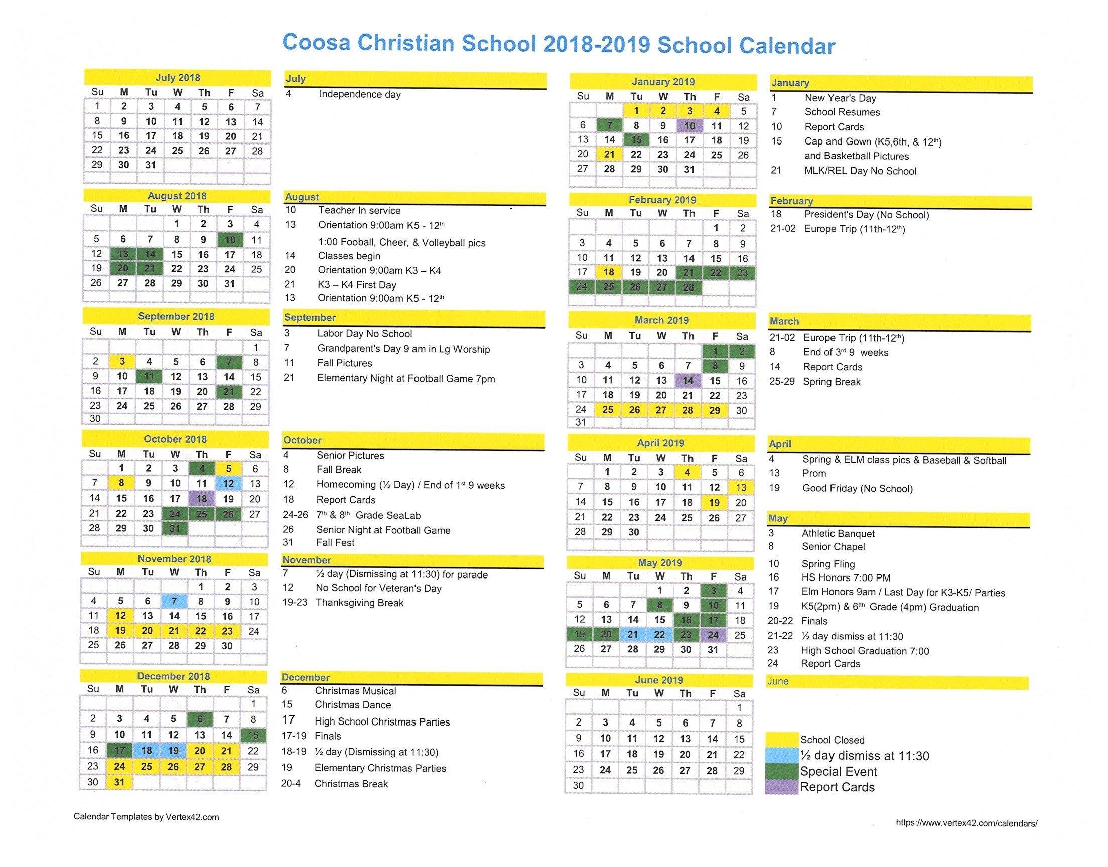 2018-2019 Calendar | Coosa Christian Calendar 2019 Christian