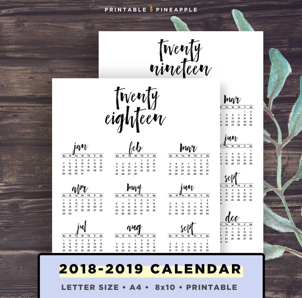 2018-2019 Calendar Printable Printable Calendar Brush | Etsy 8X10 Calendar 2019
