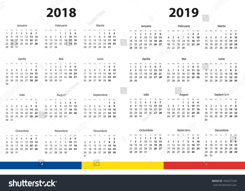 2018 2019 Calendar Stock Vector (Royalty Free) 764257549 - Shutterstock Calendar 2019 Romanesc