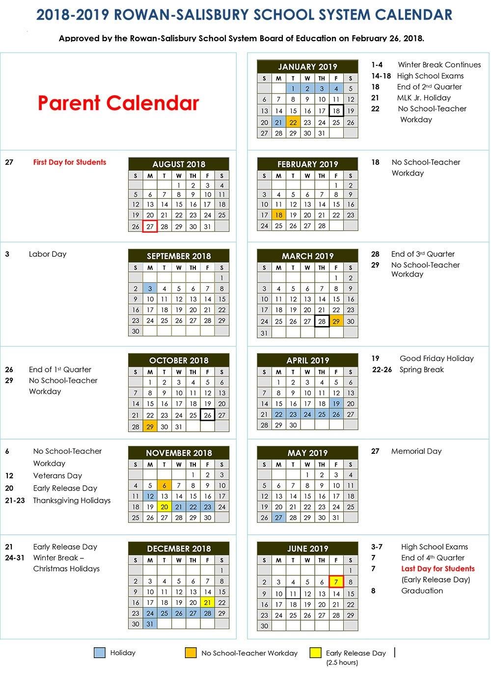 2018-2019 Calendars | District News Calendar 2019 Spring Break